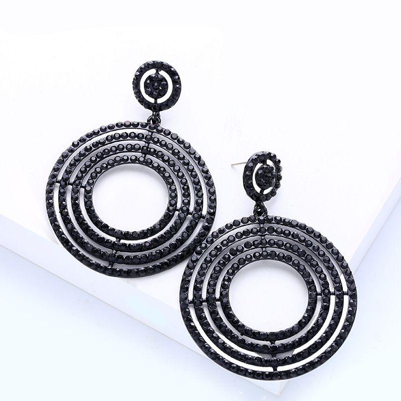 Boucle d39oreille gomtrique Fashion en alliage noir Bijoux fantaisie NHAS0662noir
