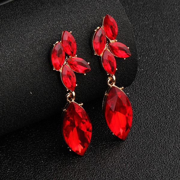 Imitated crystal&CZ Fashion Geometric earring  (KC alloy + deep red rhinestone)  Fashion Jewelry NHHS0666-KC-alloy-deep-red-rhinestone