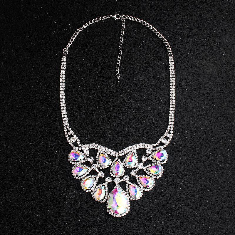 Alloy Fashion Flowers necklace  (AB color rhinestone)  Fashion Jewelry NHHS0665-AB-color-rhinestone