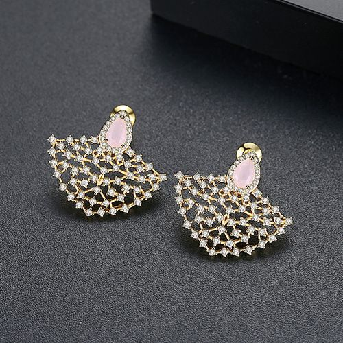 Alloy Korea Geometric earring  (Pink plated 18k)  Fashion Jewelry NHTM0655-Pink-plated-18k