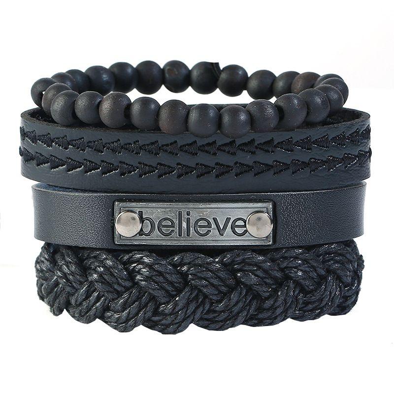 Leather Fashion bolso cesta bracelet  (Four-piece set)  Fashion Jewelry NHPK2241-Four-piece-set