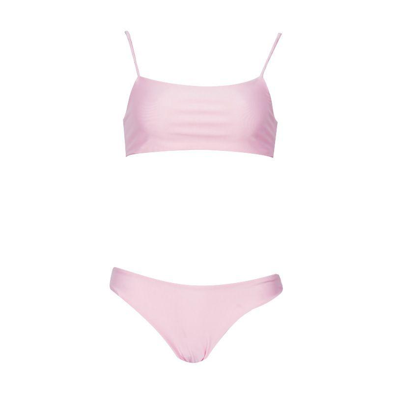 Polyester Fashion  Bikini  (Pink-S)  Swimwear NHHL1459-Pink-S