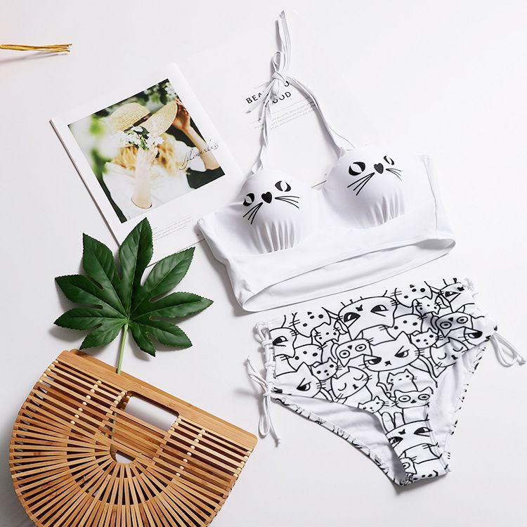 Cotton Fashion  Bikini  (White-S)  Swimwear NHHL1491-White-S