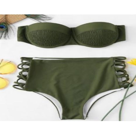 Maillot de bain Bikini Fashion Coton (Vert Armée-S) NHHL1529-Vert Armée-S's discount tags