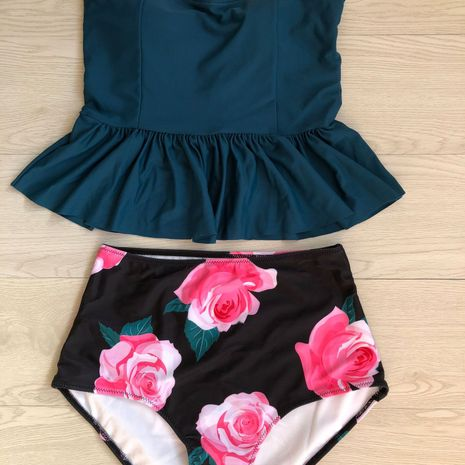 Bikini Fashion Polyester (Vert foncé-S) Maillots de bain NHHL1538-Vert foncé-S's discount tags