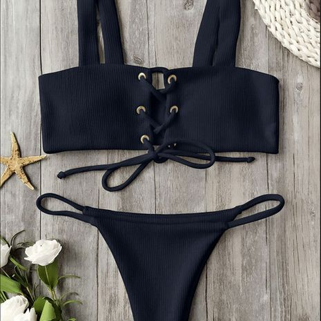 Cotton Fashion  Bikini  (Black 222-S)  Swimwear NHHL1710-Black-222-S's discount tags