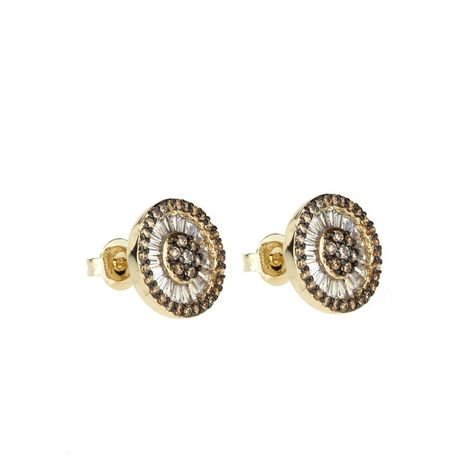 Copper Fashion Geometric earring  (Alloy-plated champagne zircon)  Fine Jewelry NHBP0409-Alloy-plated-champagne-zircon's discount tags