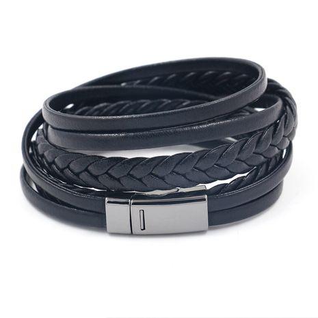 Leather Fashion Geometric bracelet  (Gun black buckle)  Fashion Jewelry NHHM0084-Gun-black-buckle's discount tags