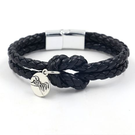 Leather Simple Geometric bracelet  (black)  Fashion Jewelry NHHM0086-black's discount tags