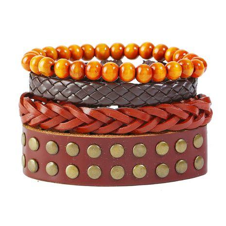 Leather Fashion Geometric bracelet  (Four-piece set)  Fashion Jewelry NHPK2250-Four-piece-set's discount tags