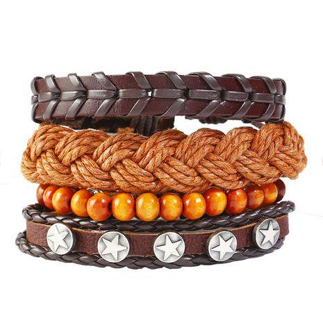 Leather Fashion Geometric bracelet  (Four-piece set)  Fashion Jewelry NHPK2251-Four-piece-set's discount tags