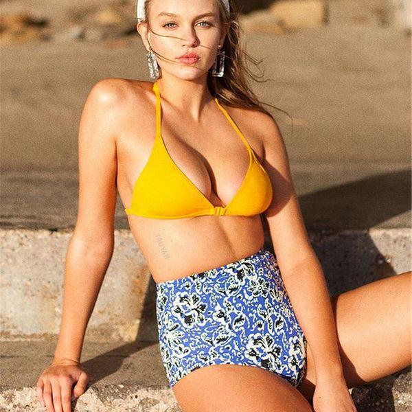 Polyester Fashion  Bikini  (Yellow-S)   NHJF0143-Yellow-S