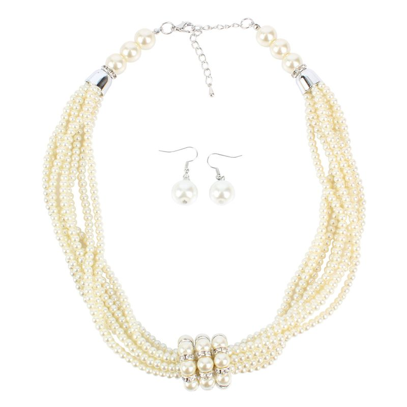 Beads Fashion Geometric necklace  white  Fashion Jewelry NHCT0511white