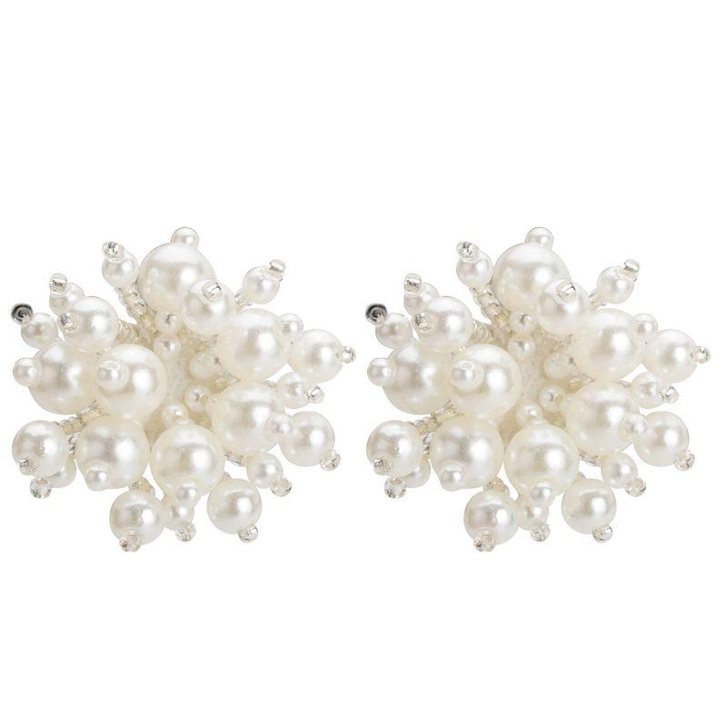 Beads Fashion Flowers earring  (white)  Fashion Jewelry NHJE2693-white