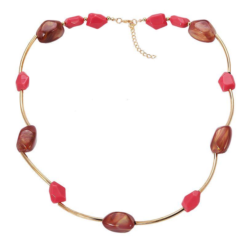 Imitated crystal&CZ Fashion Geometric necklace  (red)  Fashion Jewelry NHJQ11344-red