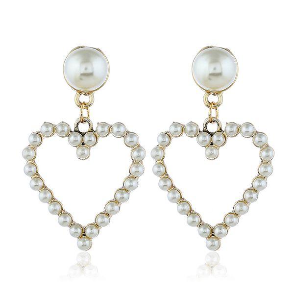 Alloy Korea Sweetheart earring  (White beads kc alloy)  Fashion Jewelry NHKQ2427-White-beads-kc-alloy