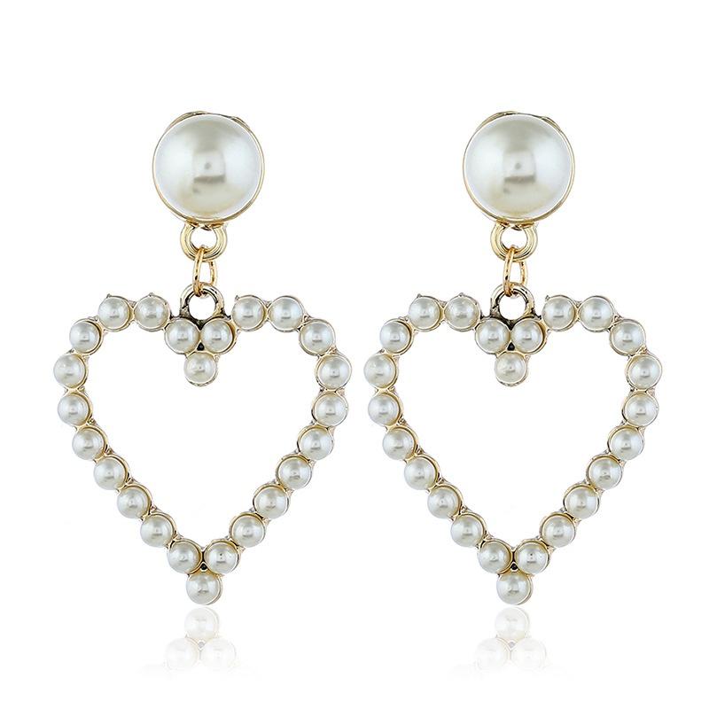 Alloy Korea Sweetheart earring  White beads kc alloy  Fashion Jewelry NHKQ2427Whitebeadskcalloy