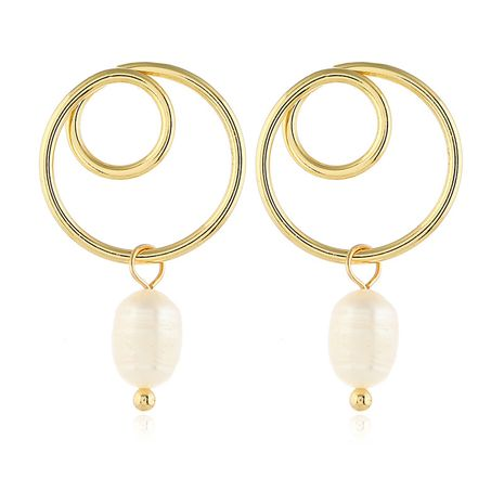 Alloy Korea Geometric earring  (White beads kc alloy)  Fashion Jewelry NHKQ2438-White-beads-kc-alloy's discount tags