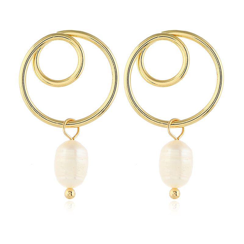 Alloy Korea Geometric earring  (White beads kc alloy)  Fashion Jewelry NHKQ2438-White-beads-kc-alloy