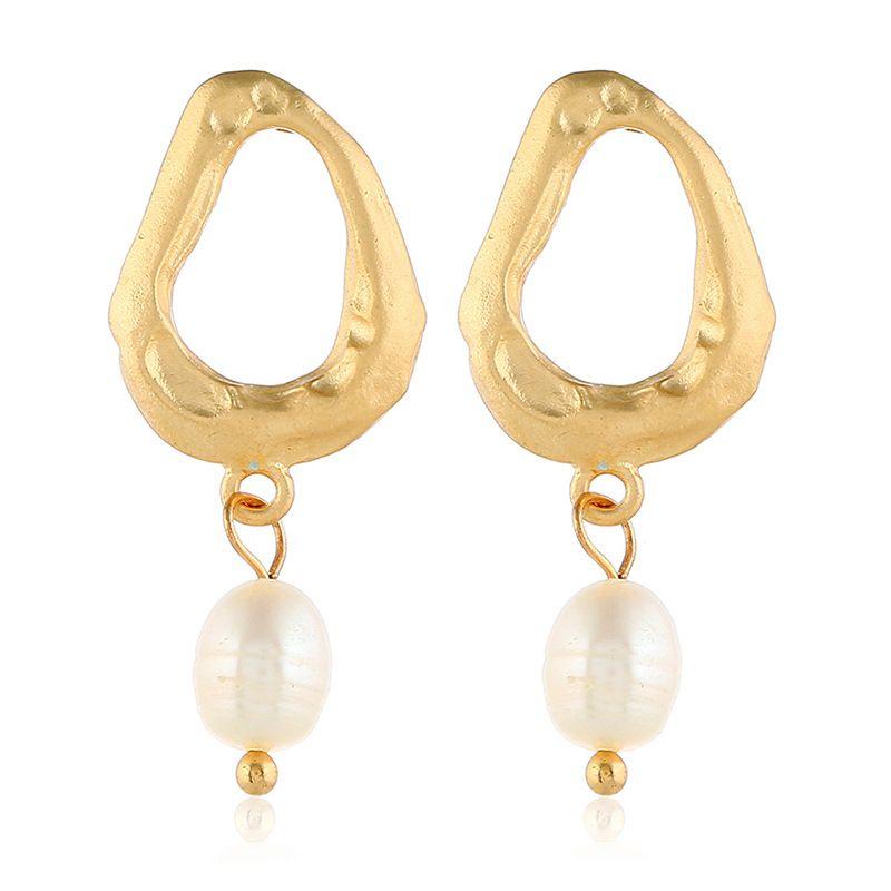 Alloy Korea Geometric earring  (White beads alloy)  Fashion Jewelry NHKQ2442-White-beads-alloy