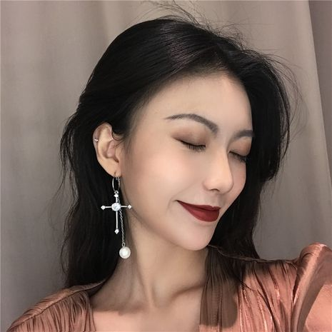 Alloy Korea Geometric earring  (Left and right asymmetric pair)  Fashion Jewelry NHYQ0054-Left-and-right-asymmetric-pair's discount tags