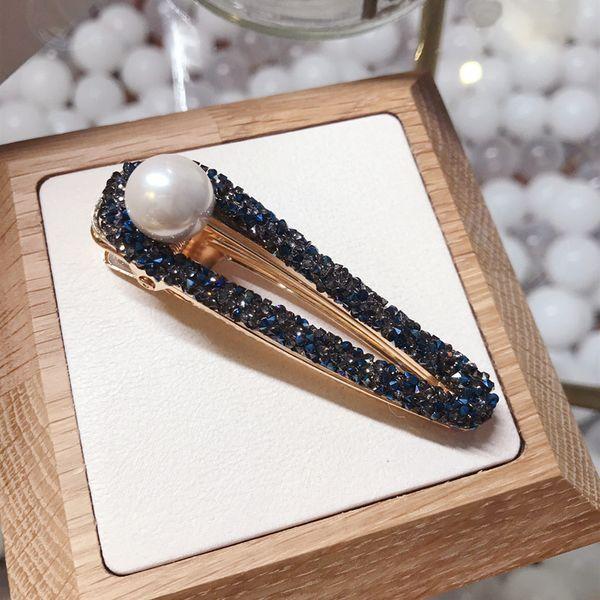 Imitated crystal&CZ Korea Geometric Hair accessories  (blue)  Fashion Jewelry NHSM0422-blue