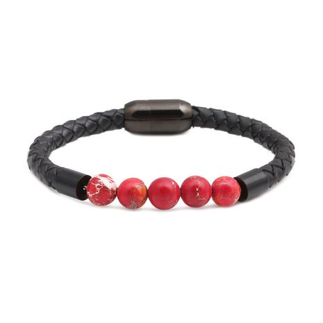 Titanium&Stainless Steel Fashion Geometric bracelet  (red)  Fine Jewelry NHYL0662-red's discount tags