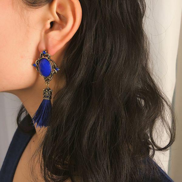 Alloy Bohemia Tassel earring  (Black 1386)  Fashion Jewelry NHXR2798-Black-1386