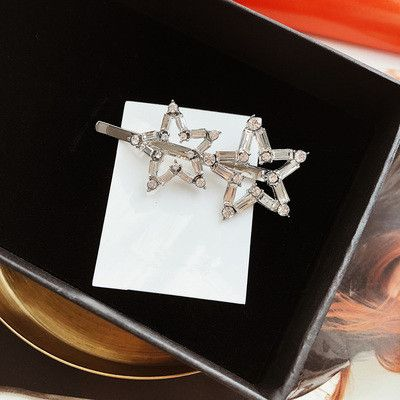 Imitated crystal&CZ Fashion Geometric Hair accessories  (Two star hairpins)  Fashion Jewelry NHYQ0515-Two-star-hairpins