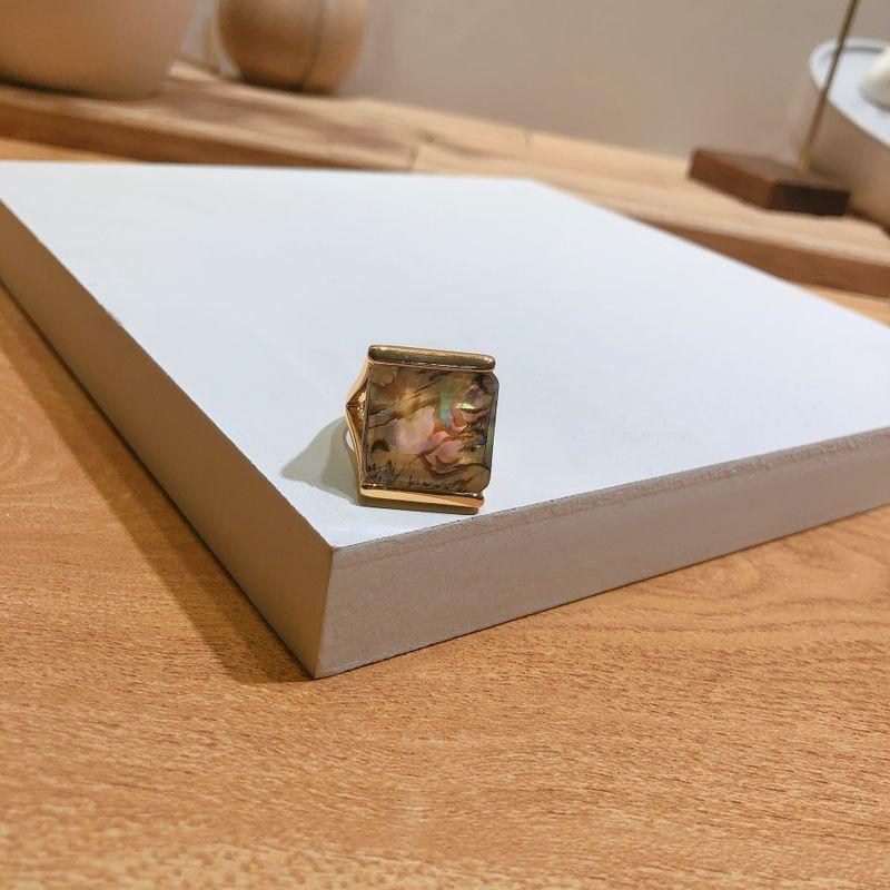 Imitated crystal&CZ Korea Geometric Ring  (Shell)  Fashion Jewelry NHYQ0592-Shell