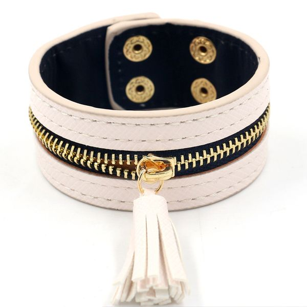 Leather Fashion Tassel bracelet  (white)  Fashion Jewelry NHHM0088-white