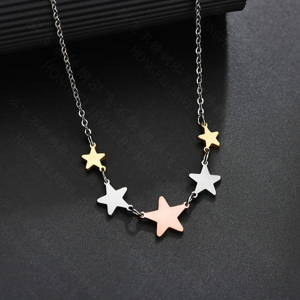 Titanium&Stainless Steel Fashion Geometric necklace  (Compact color)  Fine Jewelry NHHF1348-Compact-color