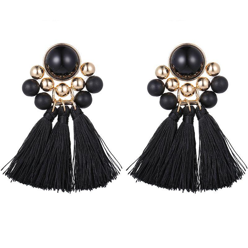 Alloy Fashion Tassel earring  (Black beads black)  Fashion Jewelry NHSD0558-Black-beads-black