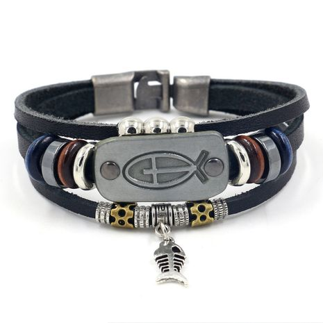 Leather Fashion Animal bracelet  (black)  Fashion Jewelry NHHM0080-black's discount tags