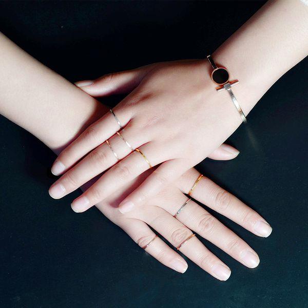 Titanium&Stainless Steel Fashion Geometric Ring  (Rose Alloy-5)  Fine Jewelry NHOK0522-Rose-Alloy-5