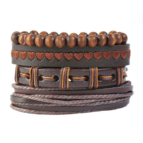 Leather Fashion bolso cesta bracelet  (Four-piece set)  Fashion Jewelry NHPK2245-Four-piece-set's discount tags
