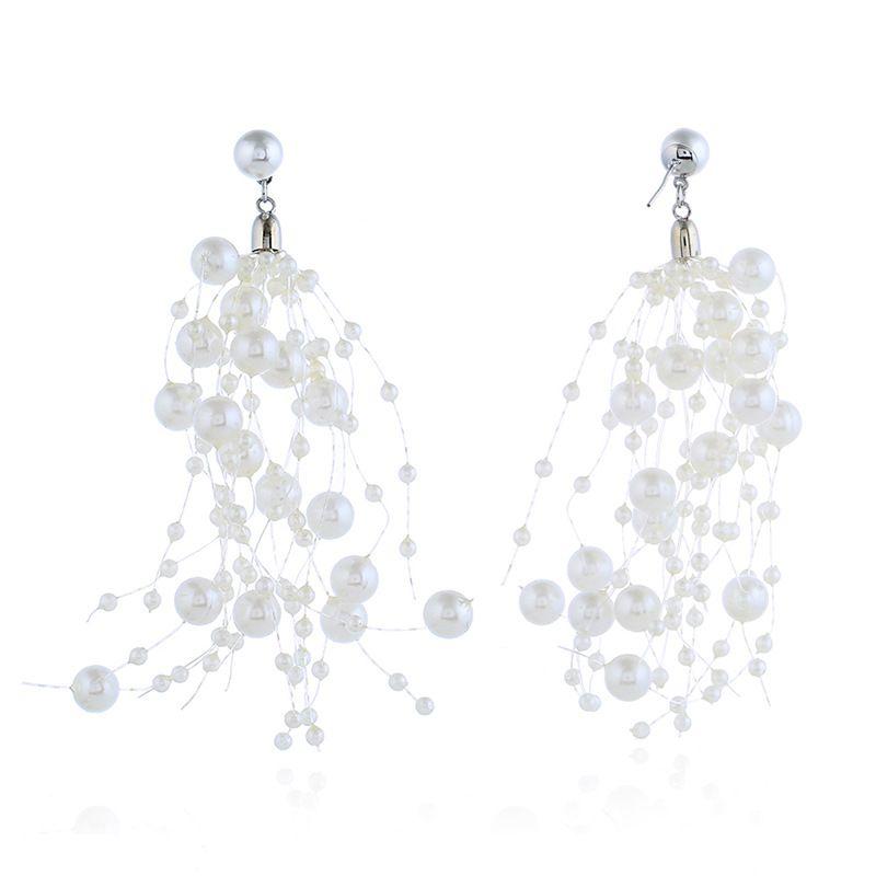Alloy Korea Tassel earring  (White beads white K)  Fashion Jewelry NHKQ2418-White-beads-white-K