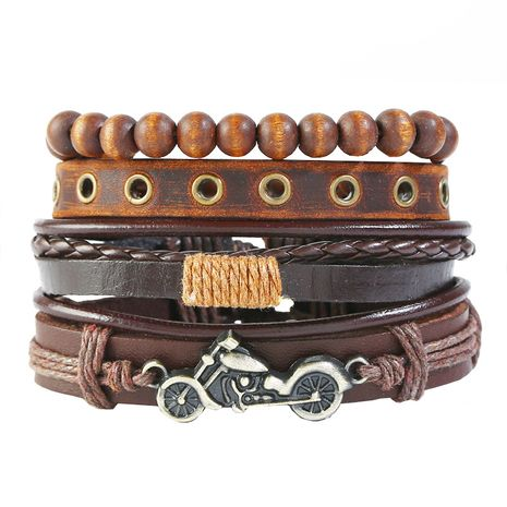 Leather Fashion bolso cesta bracelet  (Four-piece set)  Fashion Jewelry NHPK2247-Four-piece-set's discount tags
