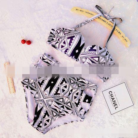 Polyester Fashion Bikini (Blanc noir-S) Maillots de bain NHHL1895-Blanc-noir-S's discount tags