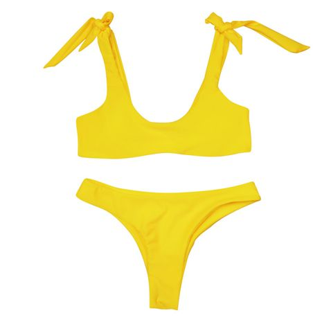 Maillot de bain en coton Fashion Bikini (Jaune-S) NHHL2020-Jaune-S's discount tags