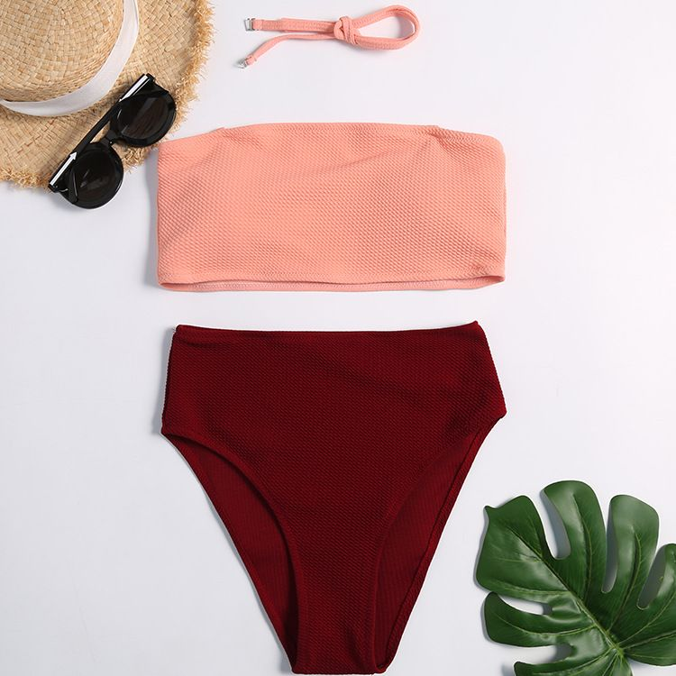 Polyester Fashion  Bikini  (Pink wine red-S)  Swimwear NHHL2056-Pink-wine-red-S
