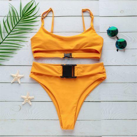 Maillot de bain en coton Fashion Bikini (Jaune-S) NHHL2063-Jaune-S's discount tags