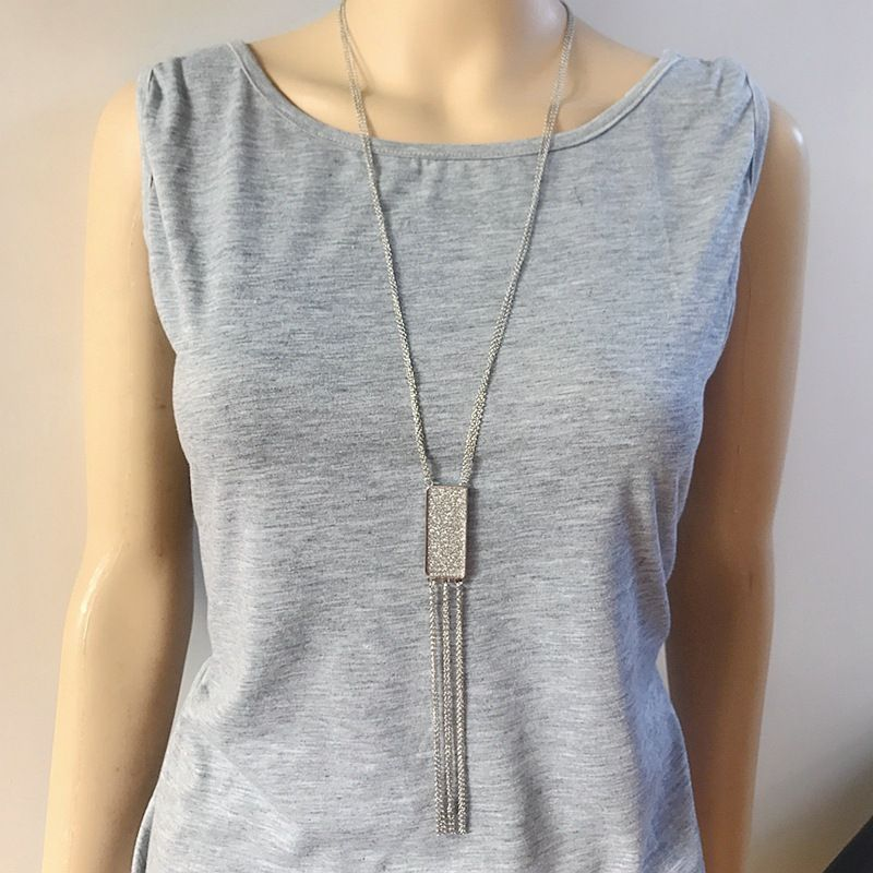 Alloy Fashion Tassel necklace  (White alloy)  Fashion Jewelry NHOM1639-White-alloy
