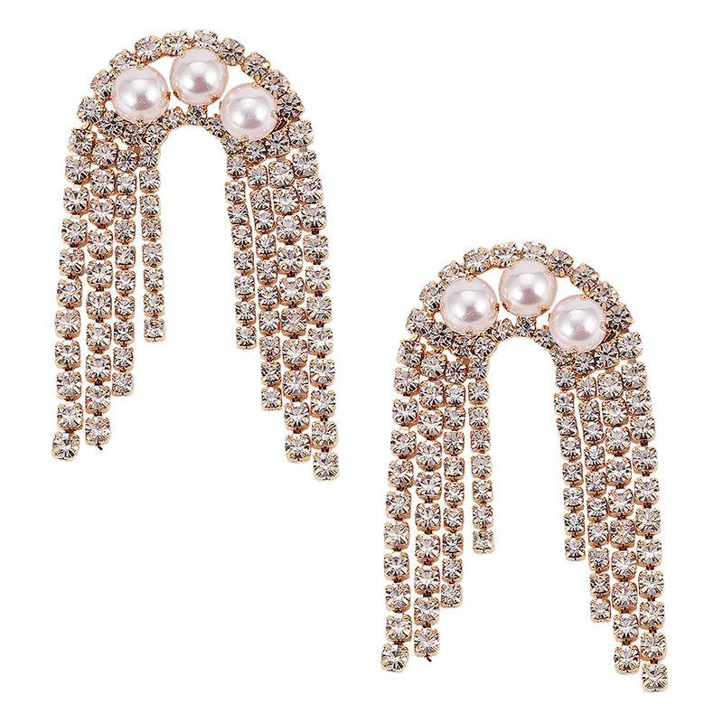 Imitated crystal&CZ Fashion Tassel earring  (Alloy)  Fashion Jewelry NHJQ11398-Alloy