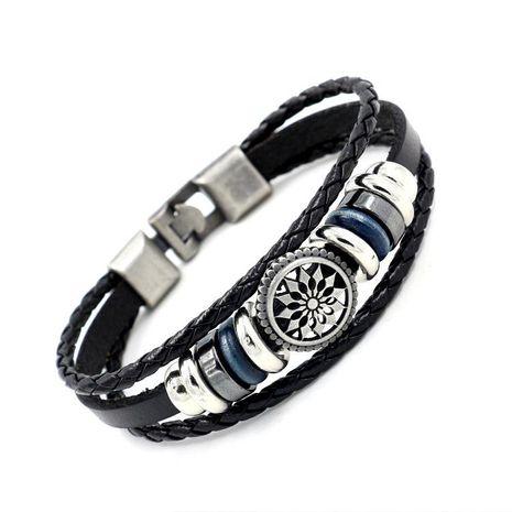 Mens Geometric Beaded Leather Bracelets & Bangles HM190411116678's discount tags