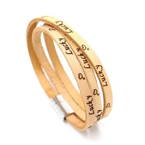 Couple letter/number/text printed leather Bracelets & Bangles HM190411116692's discount tags