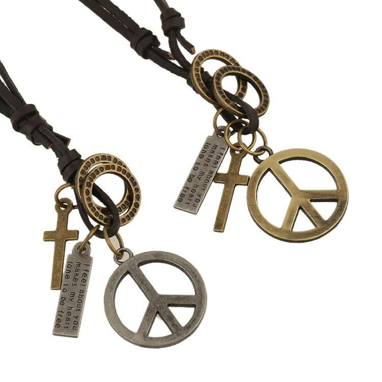 Unisex geometry plating alloy Peace sign Necklaces HM190411116698