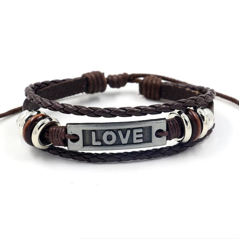 Unisex Letters/Numbers/Text Woven Leather Bracelets & Bangles HM190411116702