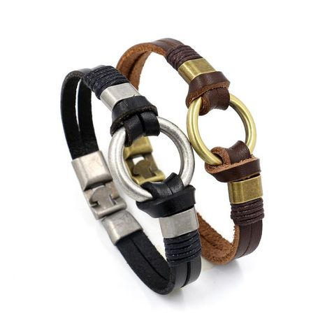 Mens Geometric Braided Leather Bracelets & Bangles HM190411116703's discount tags