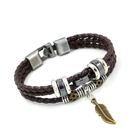 Unisex Leaf Artificial Leather Small leaves Bracelets & Bangles HM190411116711's discount tags